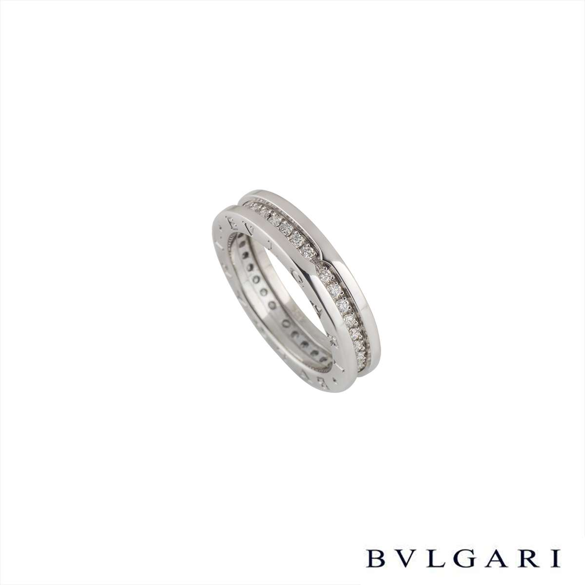Bvlgari 18k White Gold Diamond Set B.zero1 Ring AN850656